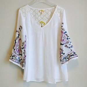 Anthropologie Fig & Flower Tunic Sheer Embroidery